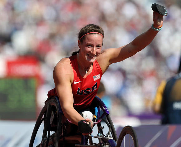 Tatyana McFadden after her first-round heat of the Paralympic 400.  (Paul Cunningham - US Presswire)
