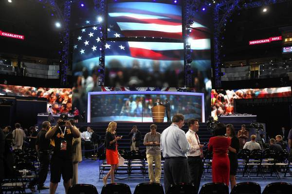 Final touches are put on the Time Warner Cable Arena in Charlotte, N.C., for this week's Democratic National Convention.