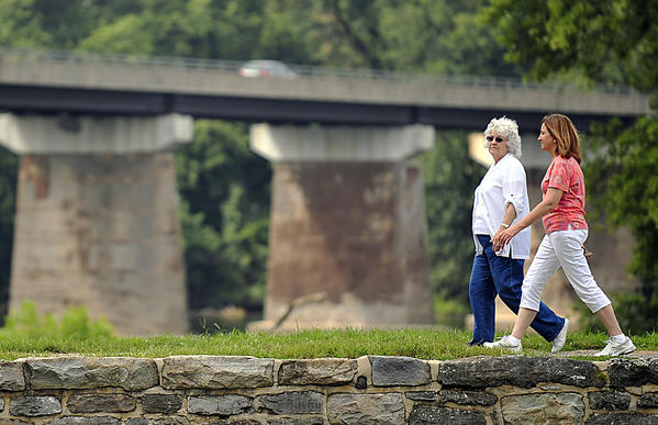 Joan Smith, left, walks with her niece Christine Smith of New Oxford, Pa., along the the C&O Canal in Williamsport on Labor Day. It was their first visit to the canal.