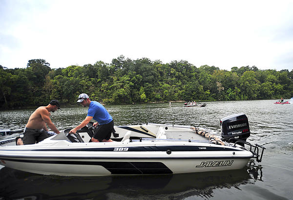 Brian Mosholder, left, of Centreville, Va., and Galen Rierson of Ranson, W.Va., spend Labor Day on the water near Dam No. 4 on the Potomac River on Monday.