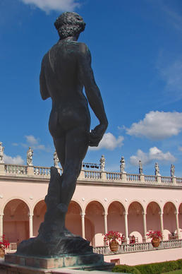 A 16-foot copy of Michelangelo's David towers over the courtyard at the Ringling Museum of Art in Sarasota, Florida.
