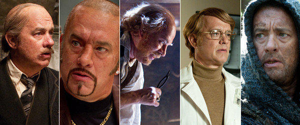 "Tom Hanks as Hotel Cavalier Manager, Dermot Hoggins, Dr. Goose, Isaac Sachs and Zachry in ""Cloud Atlas."""