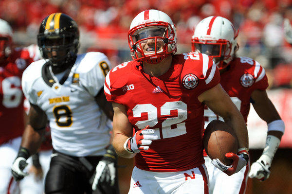 Nebraska running back Rex Burkhead has a sprained ligament in his left knee and is questionable for Saturday's game against UCLA at the Rose Bowl.