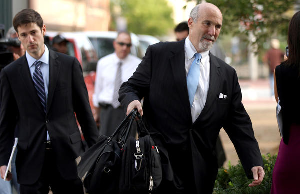 Drew Peterson's defense attorney Joel Brodsky, right, arrives at the Will County Courthouse in Joliet Tuesday for closing arguments in Peterson's trial for the murder of his third wife Kathleen Savio.
