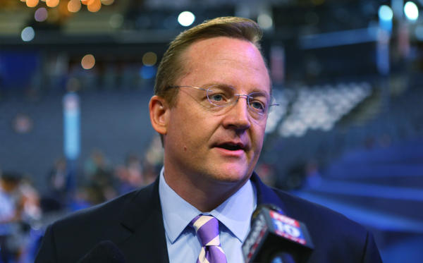 White House Press Secretary Robert Gibbs is seen on the floor during day one of the Democratic National Convention at Time Warner Cable Arena on Tuesday in Charlotte, North Carolina. The DNC that will run through September 7, will nominate U.S. President Barack Obama as the Democratic presidential candidate.