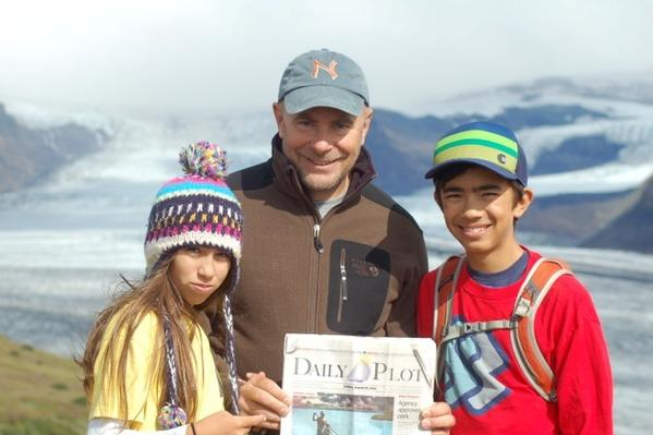 Corona del Mar residents Rob, Derek and Sammy Pickell in front of Vatnajokull Glacier in Iceland in August 2012.