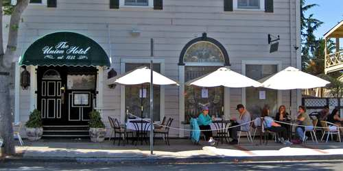 The Union Hotel was built in the 1800s and today offers dining inside and out.