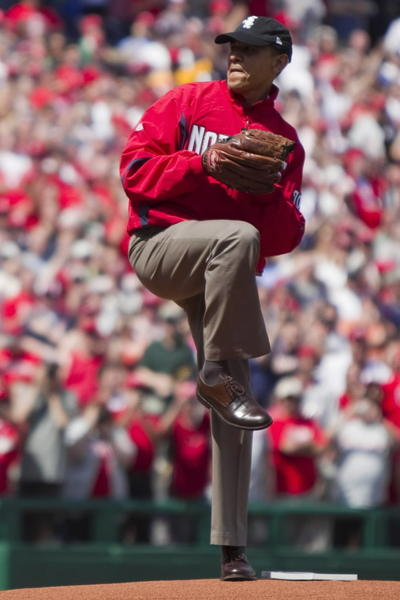 Showing his love for the home team, the president throws out the first pitch at the Washington Nationals home opener against the Philadelphia Phillies on April 5, 2010.