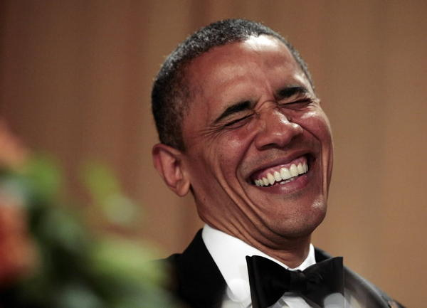 "President Obama laughs as Jimmy Kimmel delivers his speech at the White House Correspondents Association annual dinner in Washington on April 28, 2012. Said Kimmel: ""Hey Mr. President, do you remember when the country rallied around you in hopes for a better tomorrow? That was hilarious."""