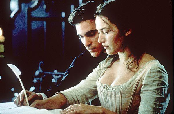 "Joaquin Phoenix and Kate Winslet in the movie ""Quills."" Phoenix plays Abbe de Coulmier, a man who befriends the Marquis de Sade -- who is imprisoned under his watch."
