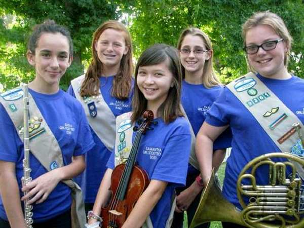 Members of Cadette Girl Scout Troop 9361 who earned their Silver Award by forming a performance group are, from left, Sasha Monterroso, Joanne Blood, Samantha Ozeas, Paige Kenyon and Libby Morrell.