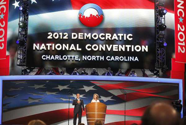Los Angeles Mayor Antonio Villaraigosa is introduced by Democratic National Committee Chairwoman Debbie Wasserman Schultz on the opening night of the Democratic convention.