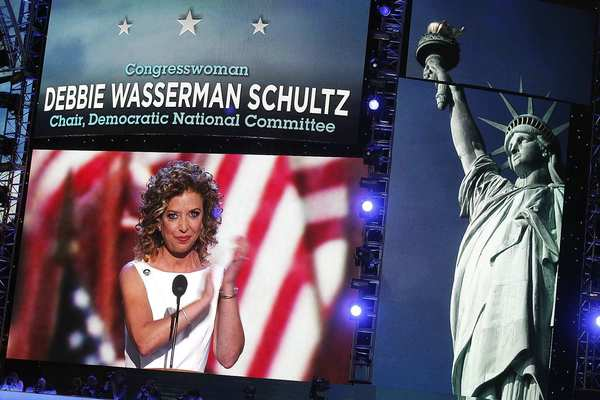 Democratic National Committee Chairwoman Debbie Wasserman Schultz officially opens the Democratic convention at  Time Warner Cable Arena in Charlotte, N.C.