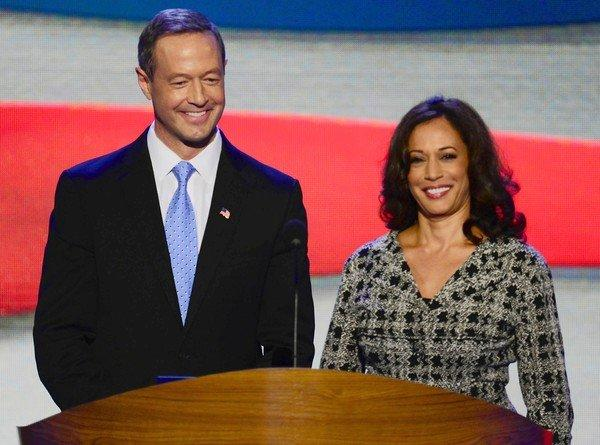 Maryland Gov. Martin O'Malley and California Atty. Gen. Kamala D. Harris attend the Democratic National Convention in Charlotte, N.C.