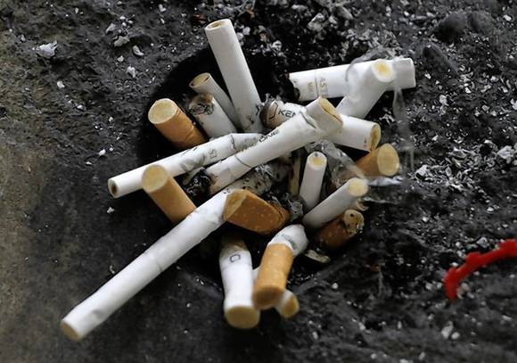 Cigarette butts in an ashtray