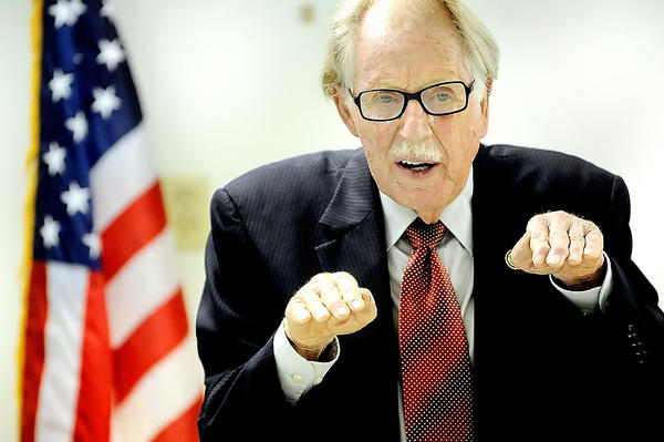 U.S. Rep. Roscoe G. Bartlett, R-Md. speaks Tuesday night during a town hall meeting he hosted in Funkstown.