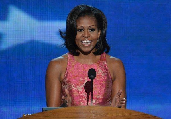 First Lady Michelle Obama addresses the Democratic National Convention.