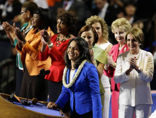 Tulsi Gabbard, the candidate for Hawaii's 2nd Congressional District, joins fellow Democrats at the convention in Charlotte, N.C.