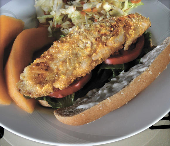 Cornmeal-dusted Cod Hoagies