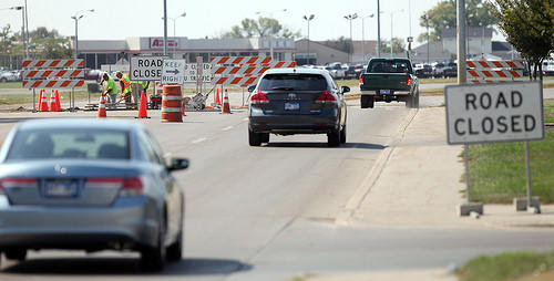 Motorists didn't always see the road closed signs as they drove past construction in the middle of U.S. Highway 281 North Tuesday. photo by john davis taken 9/4/2012