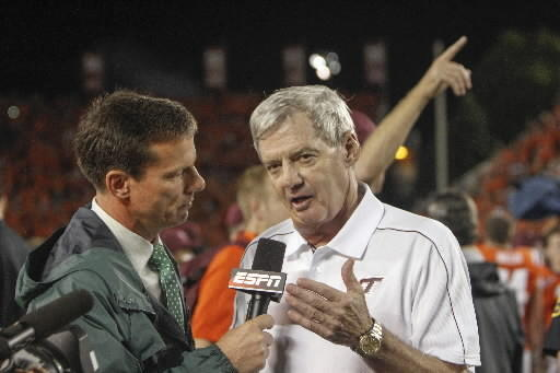 Frank Beamer on field after Monday's overtime win