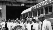 1955: George Halas and rookies on the way to camp