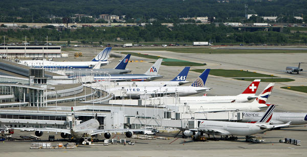 International flights line up at Terminal 5 of O'Hare Airport in 2011.