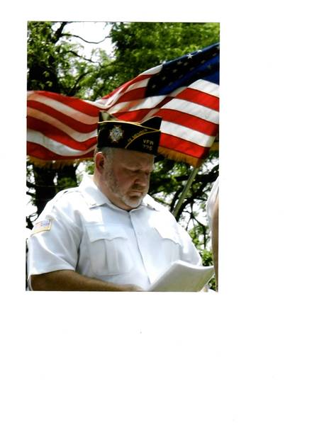 Cmdr. Jim Hogan of the William Martin VFW Post 725 at a Memorial Day ceremony. Hogan spoke in favor of allowing video gaming machines in restaurants and bars at the Aug. 27 Mokena village board meeting.
