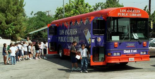 The L.A. Public Library's 1999 bookmobile. It's hard to miss.