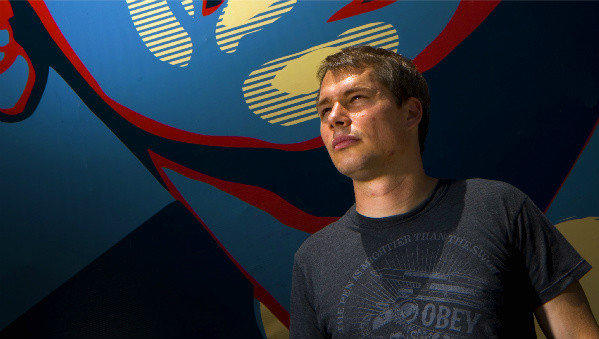A 2008 photograph of Los Angeles street artist Shepard Fairey, in front of his mural depicting then Sen. Barack Obama.