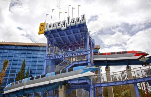 The renovated Disneyland Hotel features Monorail water slides. Images from the hotels at Disneyland Resort in Anaheim, California.
