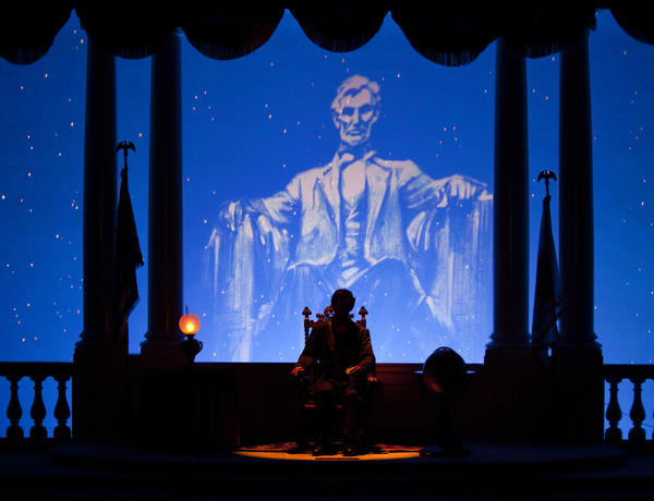 Great Moments with Mr. Lincoln is performed in the Main Street Opera House. Images from Disneyland, the original Disney theme park at Disneyland Resort in Anaheim, California.