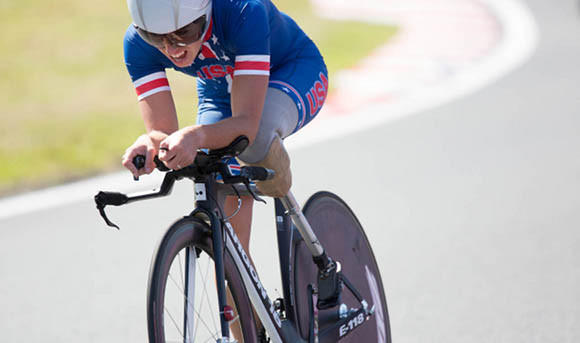 Megan Fisher winning the Paralympic time trial race Wednesday.  (Joe Kusumoto/U.S. Paralympics)