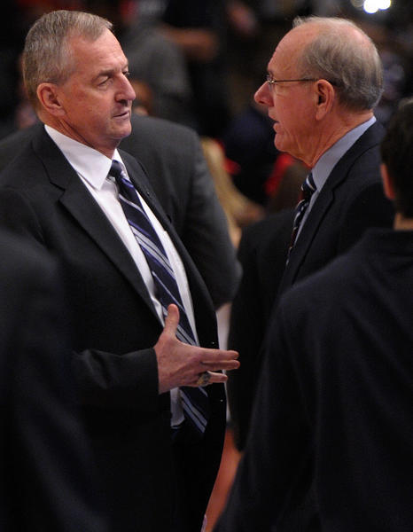 Hall of Fame coaches Jim Calhoun, left, and Jim Boeheim will shakes hands for the last time as Big East Conference rivals when the Huskies play Syracuse on Feb. 13 at the XL Center. UConn and Pitt play their final conference game on Jan. 19.