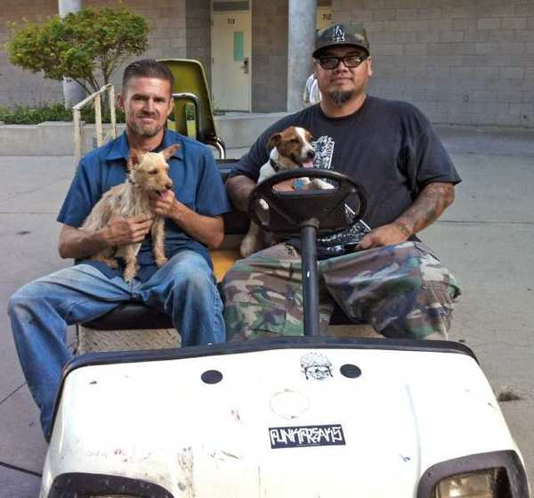 La Canada High School custodians Carlos Martinez, left, and Carlos Hernandez discovered two dogs wandering on campus without passes on Friday, Aug. 31, during the first week of the school year. The dogs, Jake and Buttercup, were wearing tags, and Martinez and Hernandez returned them to their owners.