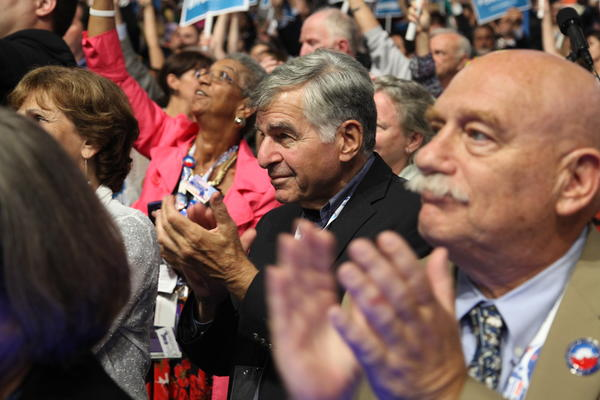 Located right beside the California delegation to the Democratic National Convention was the Masschussets delegation, where former Governor Michael Dukakis, the party's 1988 nominee for president, applauded the speeches of Michelle Obama, Julian Castro and others at Time Warner Cable Arena. Dukakis, known to history as the man who lost to George H.W. Bush that year, is a frequent visitor to Southern California as a visiting professor at UCLA's Luskin School of Public Affairs.