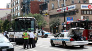 A man in a motorized scooter was struck by a charter bus and seriously injured this afternoon in the South Loop, authorities said.