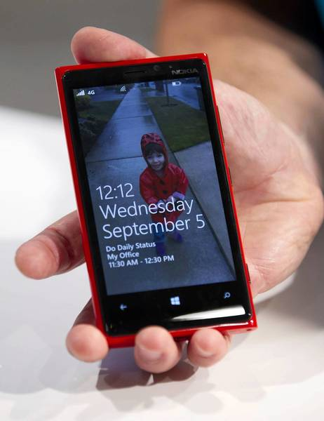 Nokia said its new Lumia 920, shown above, touts a 4.5-inch LCD touch screen. The display's pixel-per-inch count is better than that of the 3.5-inch-screen iPhone 4S.