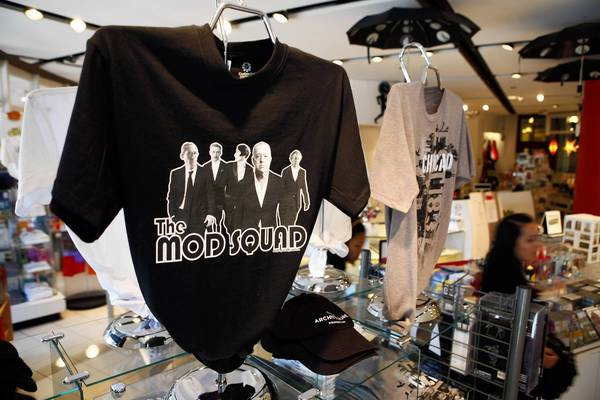 "The ""Mod Squad"" t-shirt at the Chicago Architecture Foundation shop, featuring Le Corbusier, Adolf Loos, Eileen Gray, Mies van der Rohe and Frank Lloyd Wright."