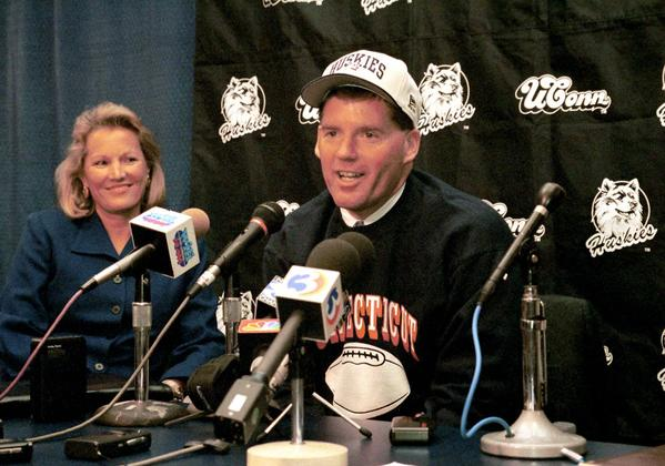In December of 1998, UConn's new coach is introduced. Randy Edsall and wife Eileen chose to stay for awhile.
