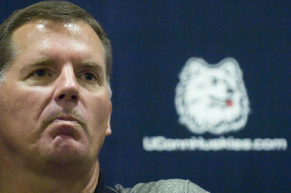 A chisle-faced Randy Edsall addresses the media after he dismissed five players who were caught bringing beer to their Florida hotel rooms in 2006. Edsall would take no questions from the media. He simply issued a terse statement.