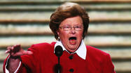 Sen. Barbara A. Mikulski, the self-styled dean of the Democratic women in Congress, urged support of female candidates in an address to her party's national convention Wednesday that came as both presidential campaigns sought to court women voters.