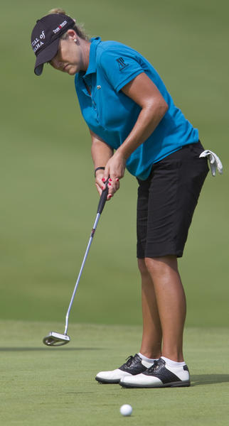 Cristie Kerr putts on the ninth hole green at the 2012 LPGA Kingsmill Championship Pro-Am at Kingsmill's River Course in Williamsburg on Wednesday.