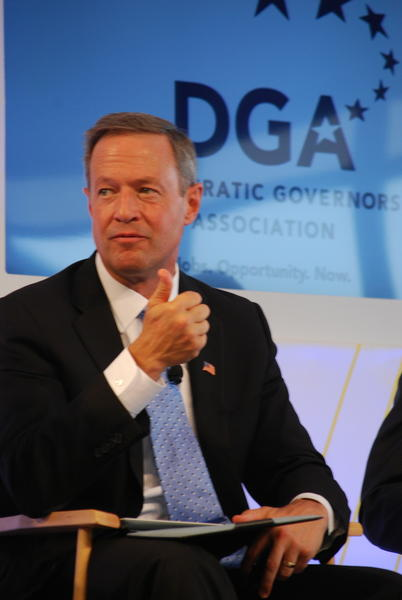 "Gov. Martin O'Malley ticks off points in his presentation to the audience at the Democratic Governors Association panel on ""Growing Our Economy and Investing in Infrastructure."""