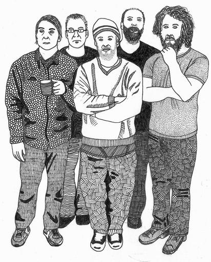 "Built To Spill's members don't like taking ""traditional"" band photos. They prefer to be depicted in illustrations."