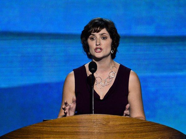 Women's rights advocate Sandra Fluke speaks at the Democratic National Convention in Charlotte, N.C.