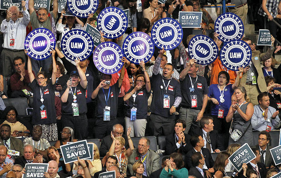 Attendees show their enthusiasm at the Democratic National Convention.