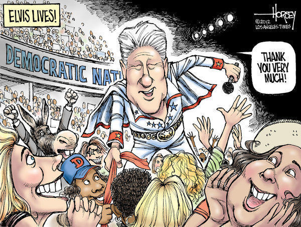Democrats swoon for Bill Clinton, like Elvis fans of old