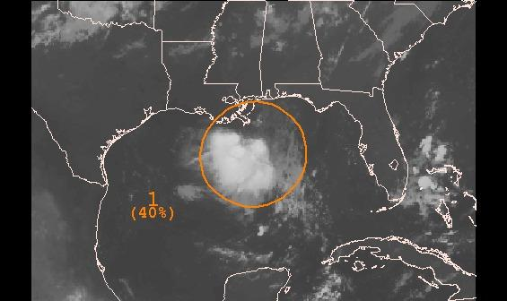 A disturbance in the Gulf of Mexico was given a medium chance of developing.