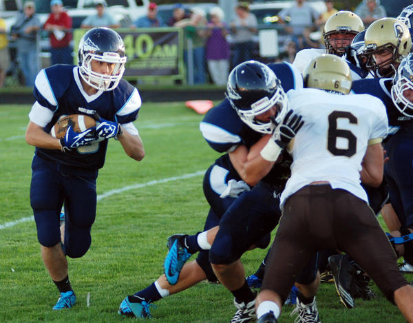 Petoskey junior running back Nick Strobel (left) could see added playing time Friday against Cadillac pending the health of senior running back Chase Ledingham, who was injured last week against Ogemaw Heights.